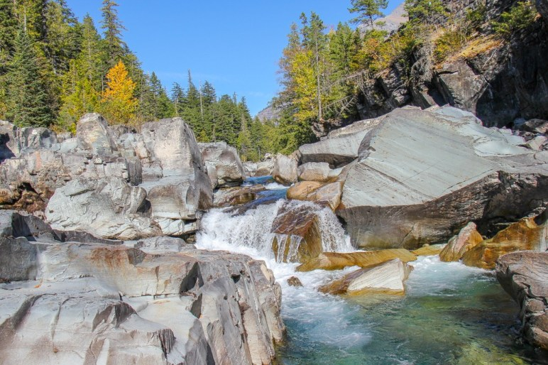 Waterfall at Upper McDonald Creek Trail Waterfalls, Glacier National Park, Montana