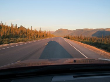Midnight, heading due south, the sun is hanging in my rear view mirror due north.