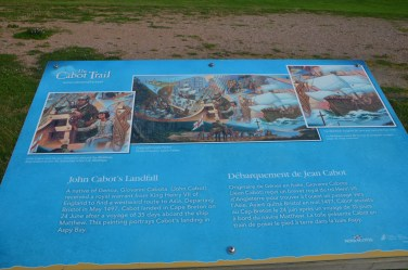 About John Cabot. Some controversy here... the landing site recognized in the 500th anniversary celebration was in Newfoundland.