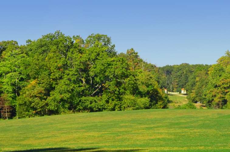 Looking across the lawns to where the gate house would have been.