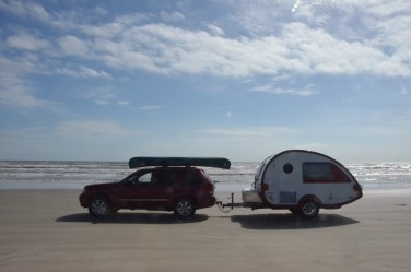 A bit later I found a spot to get the trailer out on the sand