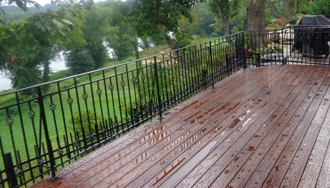 Wrought Iron Rail Fabricator Northern Virginia | Wood And Rod Iron Railing | Wooden | Dark Stained | Wrought Iron | Pipe | Simple Modern