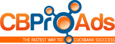 CBProAds' logo consisting of the name in red and blue fancy characters and under it the isncription The fastest way to clickbank sales