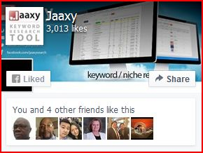 The Jaaxy keyword research platform with photos of people who like it underneath.