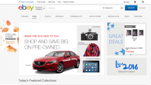 Ebay homepage showing a variety of products you can buy and/or sell