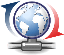 A globe of the world with red and blue arrows around it to signify blog update