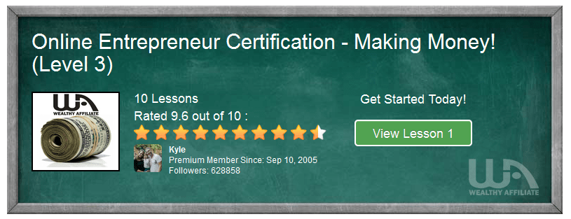 A green board showing details of the online entrepreneur certification course, level 2
