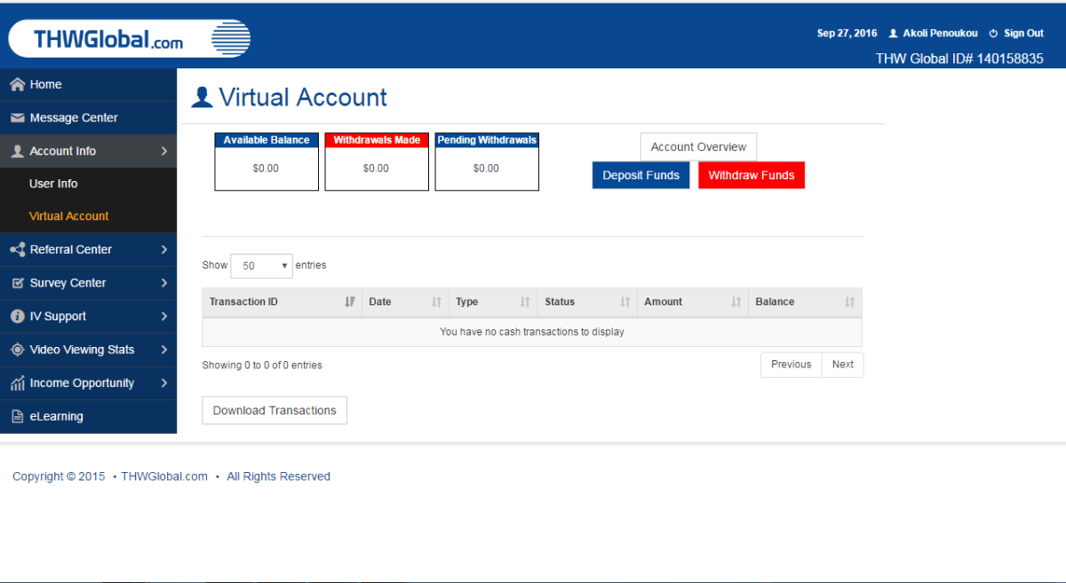 THWGlobal virtual account showing funds earned and withdrawn.