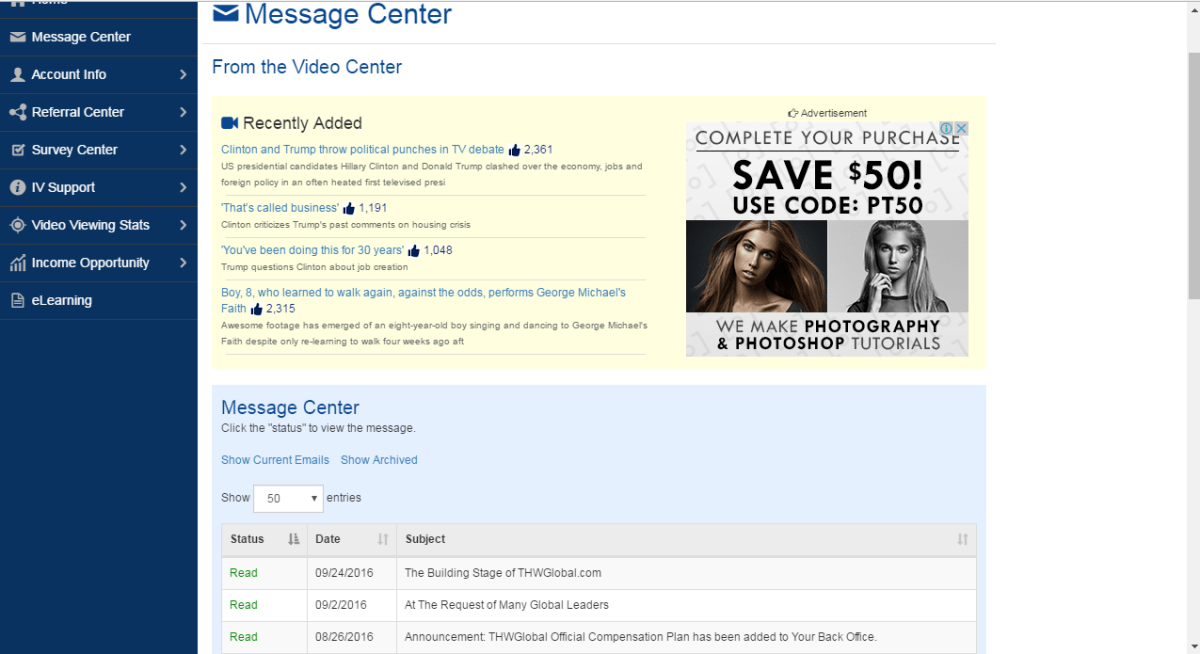 The THWGlobal message center showing emails.