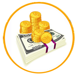 Golden coins piled on a wad of dollar bills both inside a yellow circle