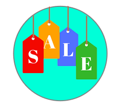 Letters SALE each written on red, yellow, blue and green labels, all inside a greenish circle