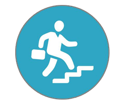 A white silhouette holding a bag and hurrying up stairs, both contained in a blue circle