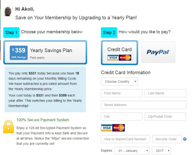 Wealthy Affiliate yearly upgrade