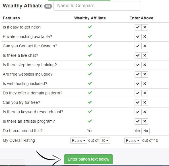 A table for comparing Wealthy Affiliate's features to any program