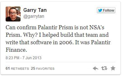 Palantir Denies PRISM implication Reply