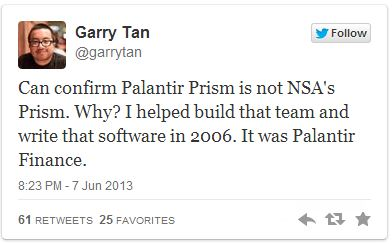 Palantir Denies PRISM implication Reply