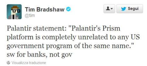 Palantir Denies PRISM implication