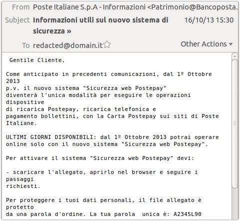Original Fishing Scheme Against Poste Italianesecurity Affairs