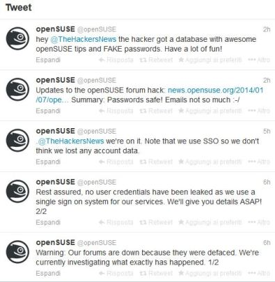 OpenSuse Forum defaced tweets