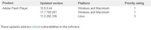 Adobe Flash Player vulnerability