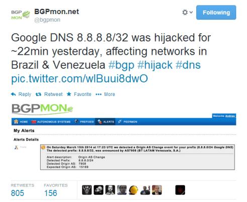 bgpmon Google DNS Haijacked
