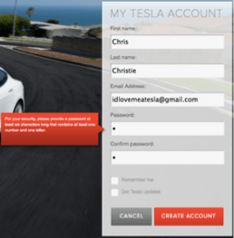 tesla account registration