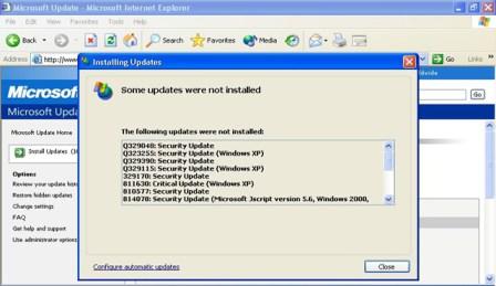 windows xp security updates