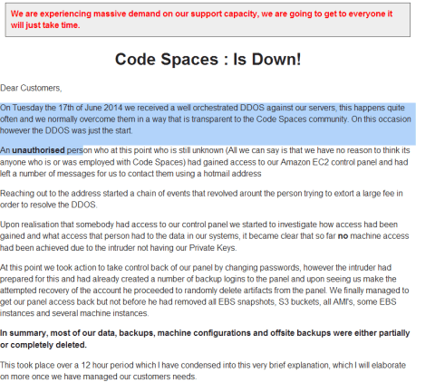 Code Spaces down