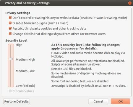 Tor Browser 4.5 slider
