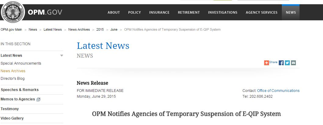 Opm Suspends E Qip To Patch A Severe Security Flawsecurity Affairs