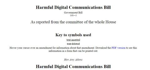 Harmful Digital Communication Bill