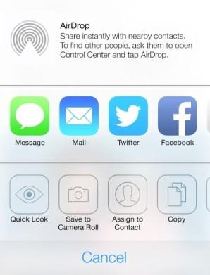 Airdrop menu_iOS