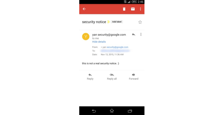 gmail email spoofing attack