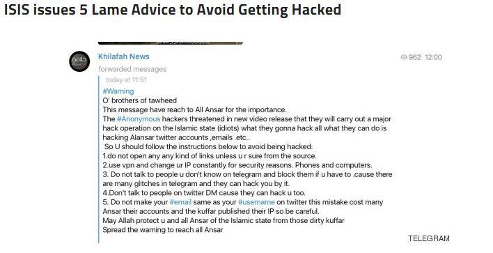 Anonymous vs ISIS telegram darknet 3 ISIS Help Desk