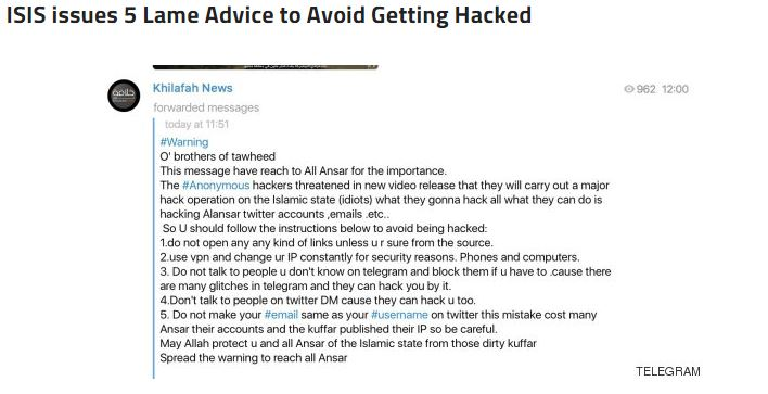Anonymous vs ISIS telegram darknet 3