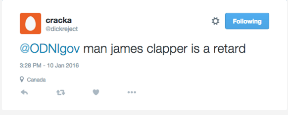 cracka tweet James Clapper