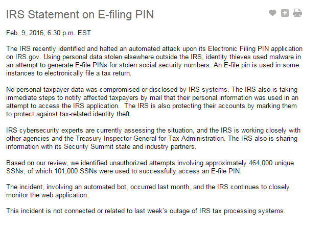 IRS Statement on E-filing PIN
