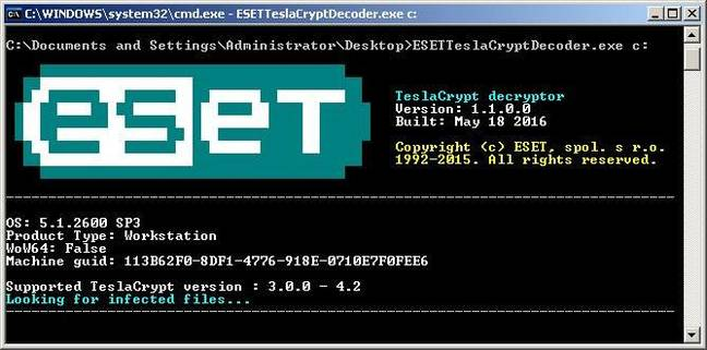 Teslacrypt decryption tool