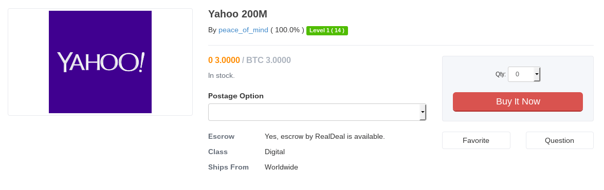 200 Million Yahoo login credentials