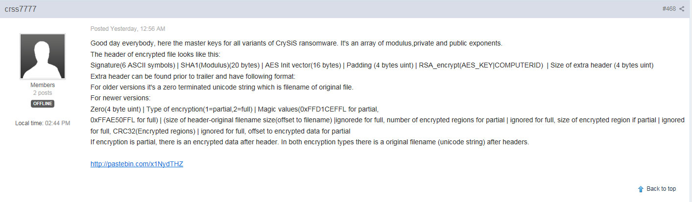 CrySis ransomware decryption keys published online