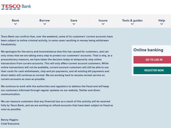 Tesco Bank suspended all online transactions due to a cyber