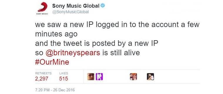 Hacked Sony Music Entertainment account