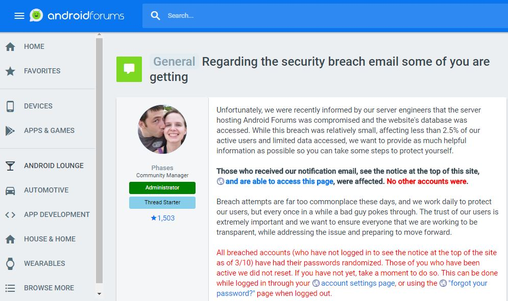 Android Forums data breach