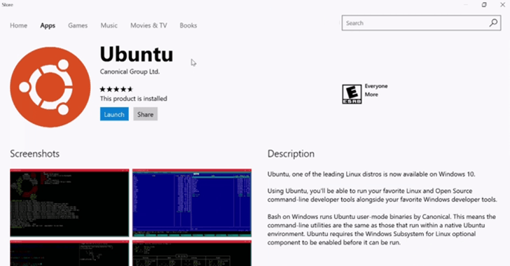 linux on windows store