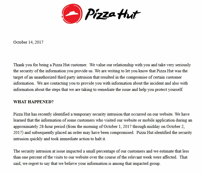 Pizza Hut Email security breach
