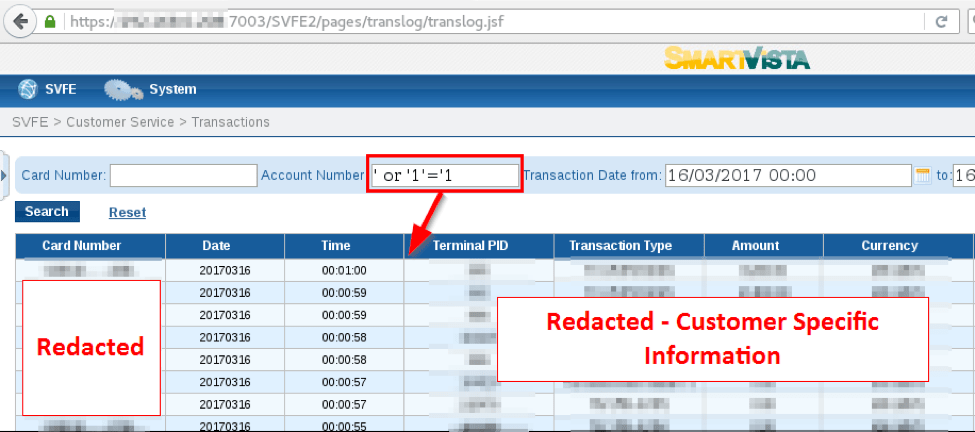 SmartVista SQL Injection