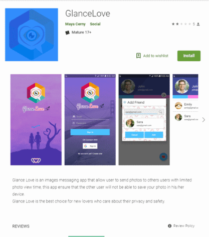 Hamas GlanceLove fake app