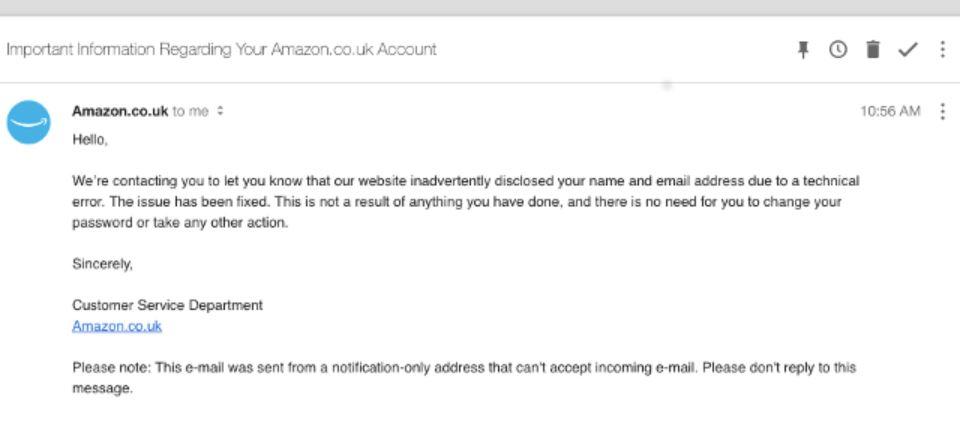 Amazon UK data leak