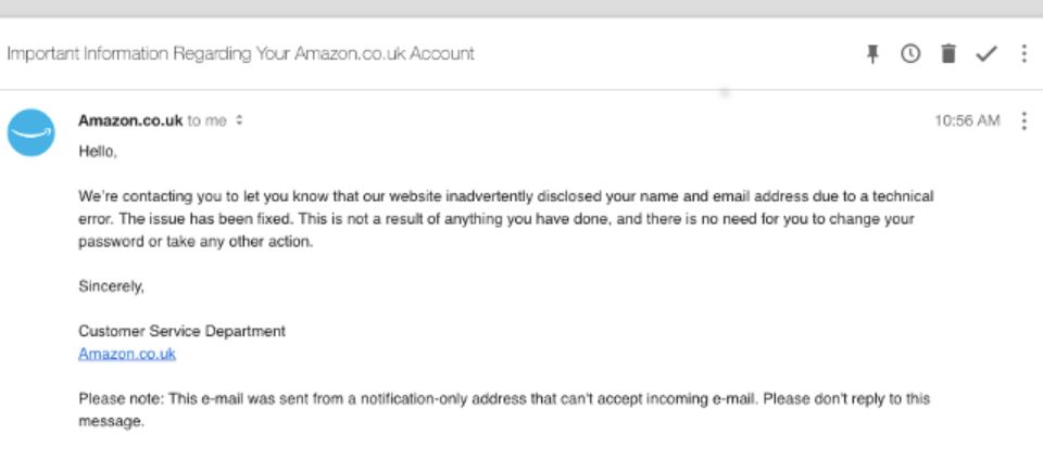Amazon UK is notifying a data breach to customers days