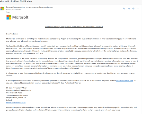 Attackers hacked support agent to access MS Outlook email